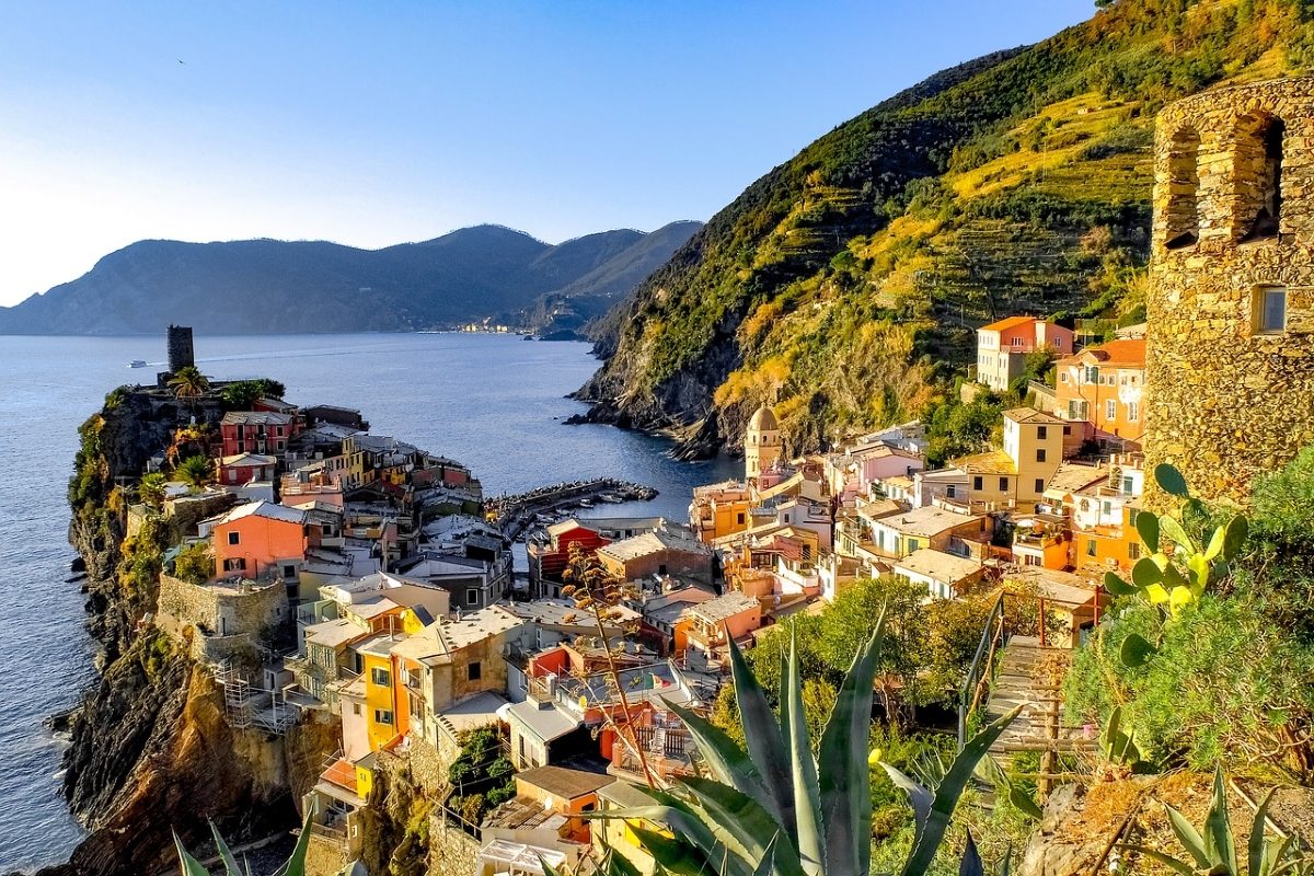 Panoramic view of one of the five villages in Cinque Terre, Italy